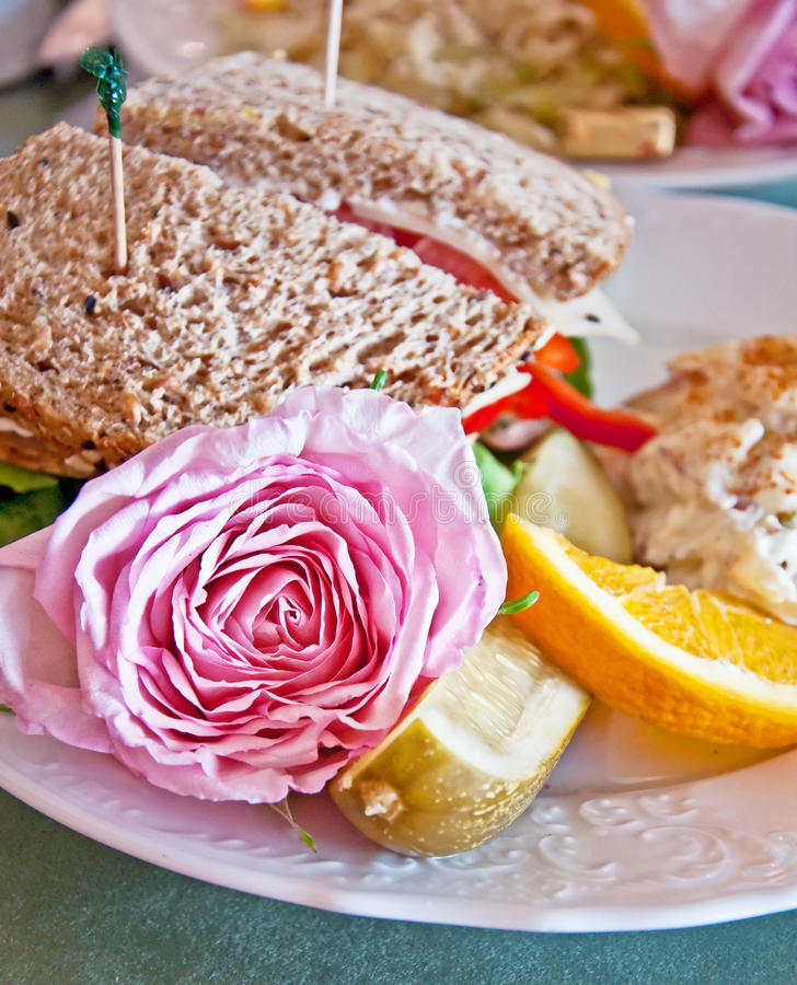 Download Lunch Sandwich With Pink Rose Garnish Stock Image - Image of orange, whole: 25784035