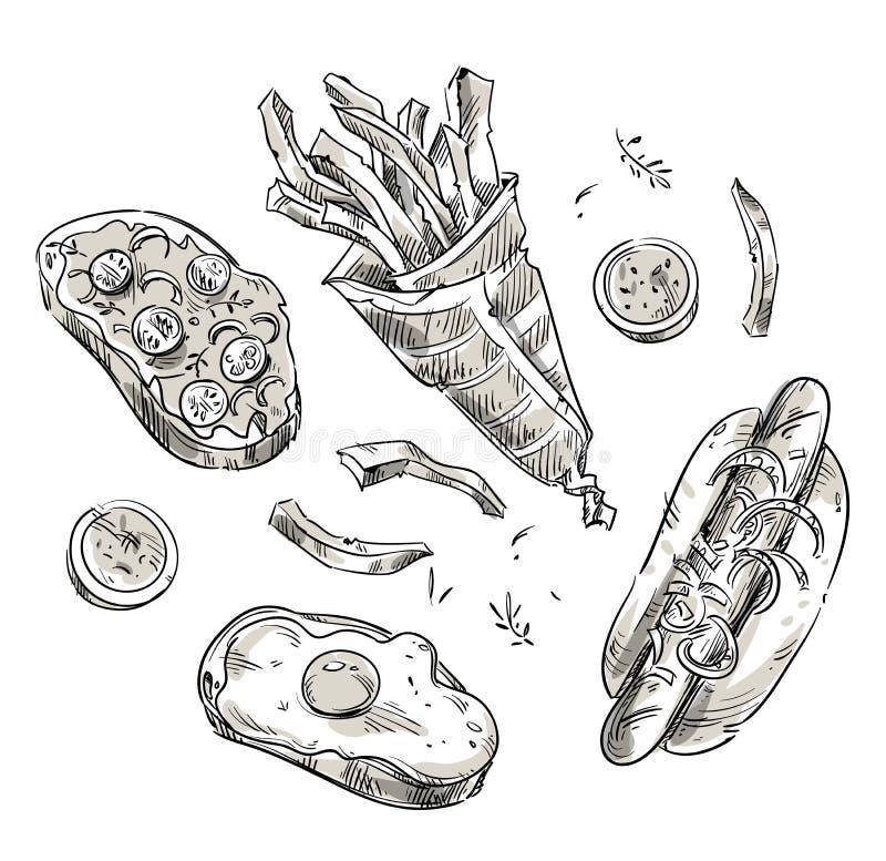 lunch snack Γρήγορο φαγητό take-$l*away Διανυσματικό σκίτσο απεικόνιση αποθεμάτων