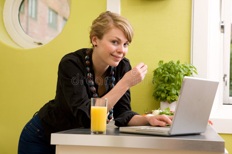 Download Lunch while Surfing stock image. Image of morning, girl - 3192237