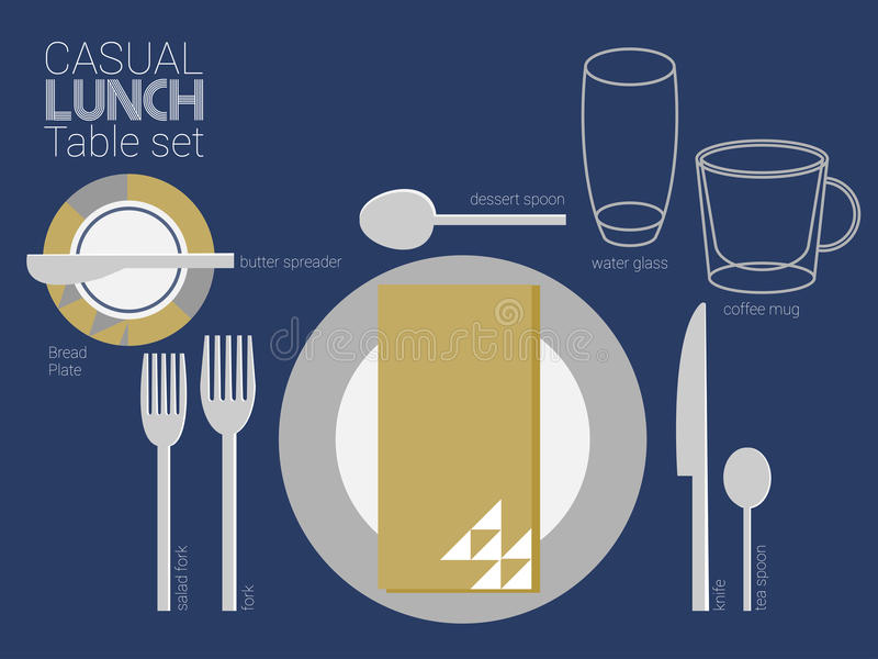 LUNCH TABLE SETTING vector illustration
