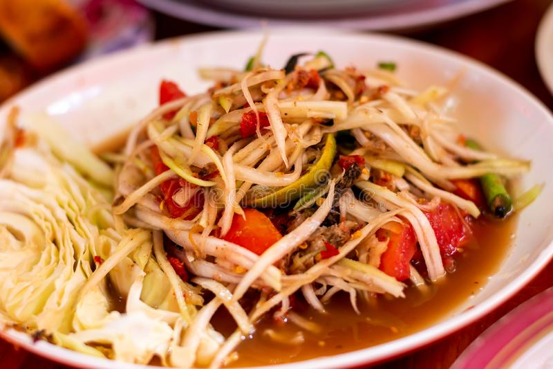 The lunch of Thai food papaya salad,Som Tum,spicy flavor on the table.  stock photography