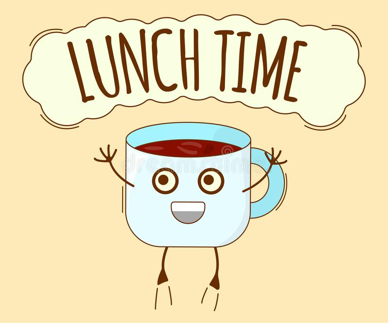Lunch Time Banner, Tea Icon. Cute Character, Concept Label. Cartoon Vector Illustration.  royalty free illustration