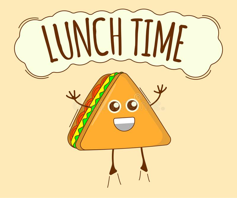 Lunch Time Banner, Tea Icon. Cute Character, Concept Label. Cartoon Vector Illustration.  stock illustration