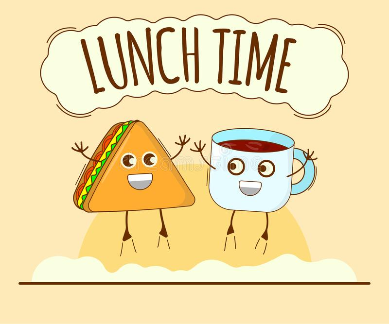 Lunch Time Banner, Tea and Sandwich Icon. Cute Character, Concept Label. Cartoon Vector Illustration.  royalty free illustration