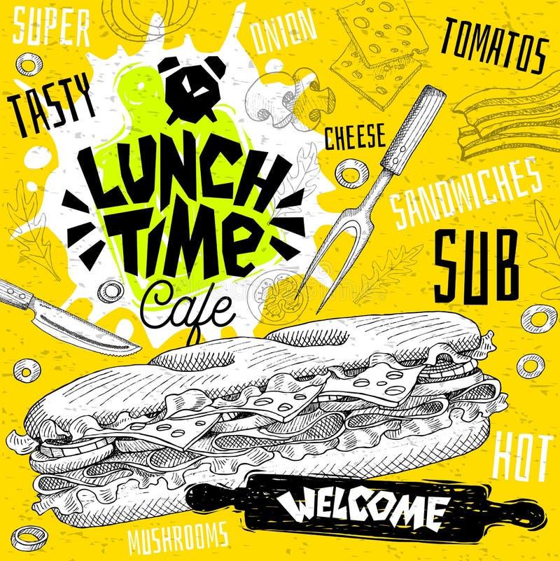 Lunch time cafe restaurant menu. Vector sub sandwiches fast food. Flyer cards for bar cafe. Design template, logo, emblem, sign, crown, welcome vintage hand royalty free illustration