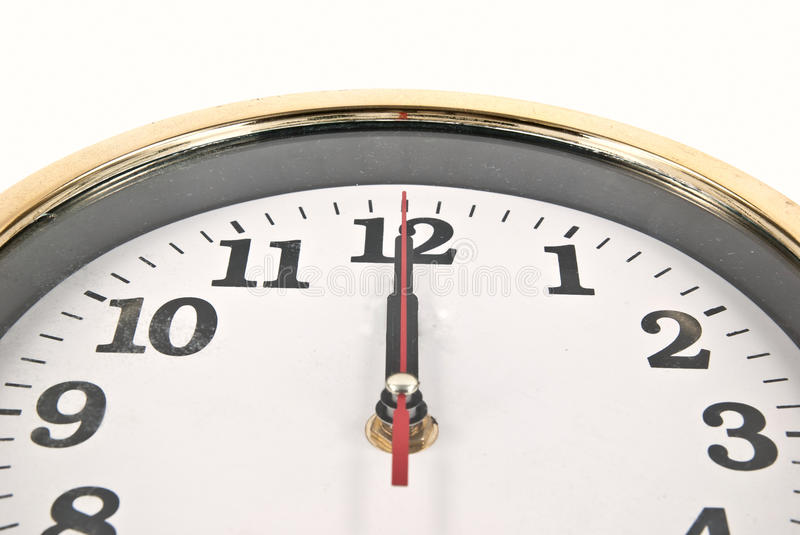 Lunch time clock. A clock showing twelve o'clock, time for lunch royalty free stock photography