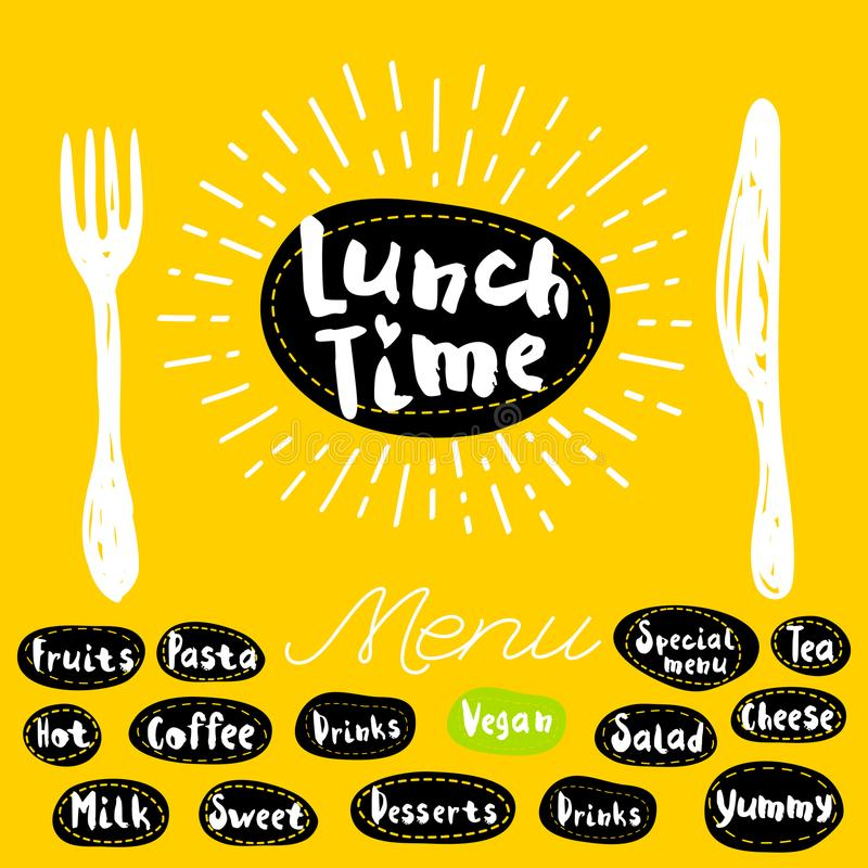 Lunch time logo. Lunch time fork knife menu. Lettering calligraphy logo sketch style light rays heart, pasta, vegan, tea, coffee, deserts, yummy, milk, salad royalty free illustration