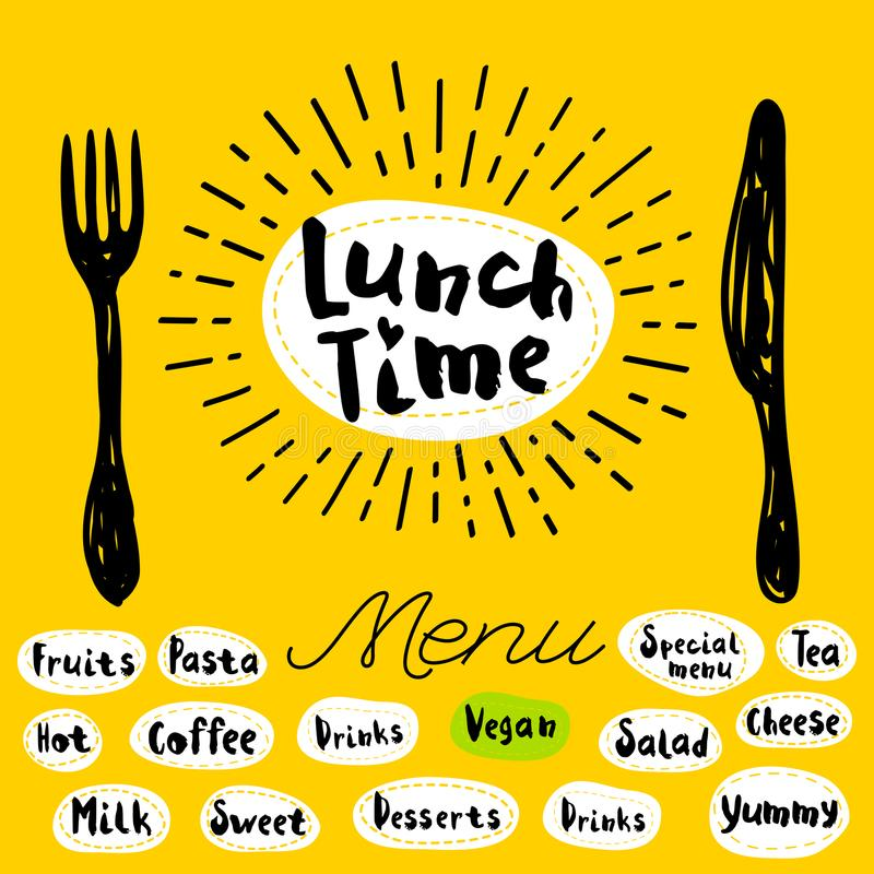 Lunch time logo. Lunch time fork knife menu. Lettering calligraphy logo sketch style light rays heart, pasta, vegan, tea, coffee, deserts, yummy, milk, salad vector illustration