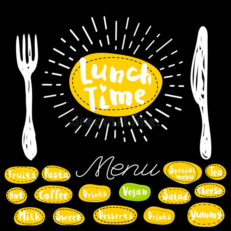 Lunch time logo. Lunch time, fork knife menu. Lettering calligraphy logo sketch style light rays heart, pasta vegan, tea, coffee, deserts, yummy, milk, salad vector illustration