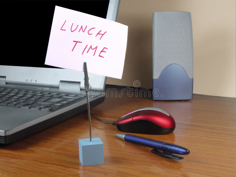 Lunch time at the office stock photography