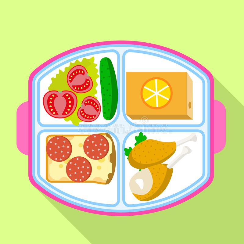 Lunch tray icon, flat style stock illustration