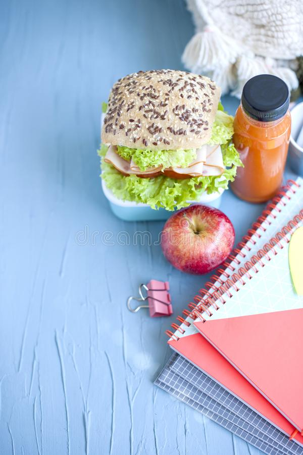 Lunch voor uw kind in school, doos met een gezonde sandwich en een fruitsalade en appelsap in de fles voor het drinken stock afbeelding