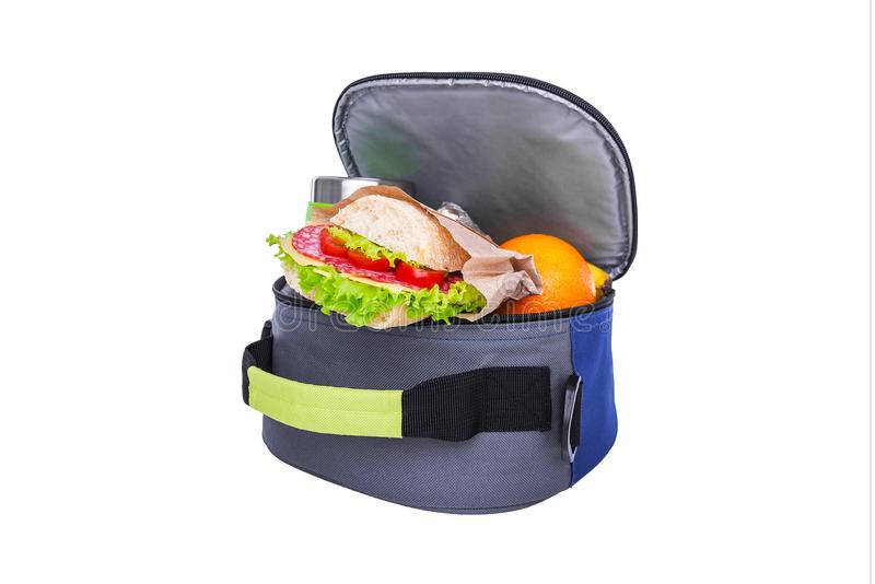 Lunch w torbie dla lunchu obraz stock