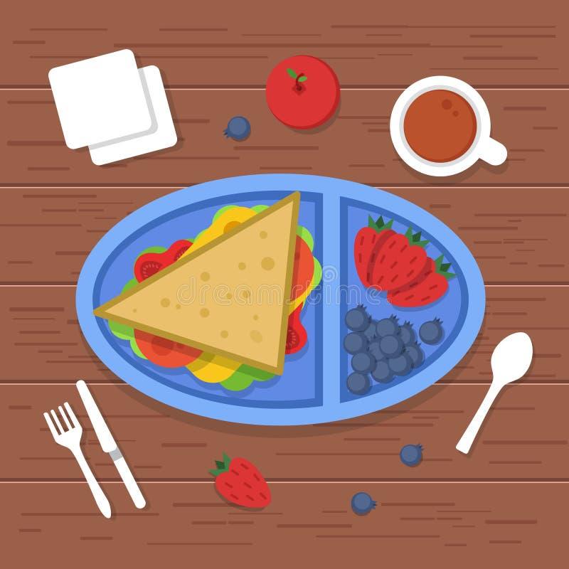 Lunchask på tabellen Stället som äter smörgåsar för matbehållaren, skivade nya sunda fruktgrönsaker för matställefrukost royaltyfri illustrationer
