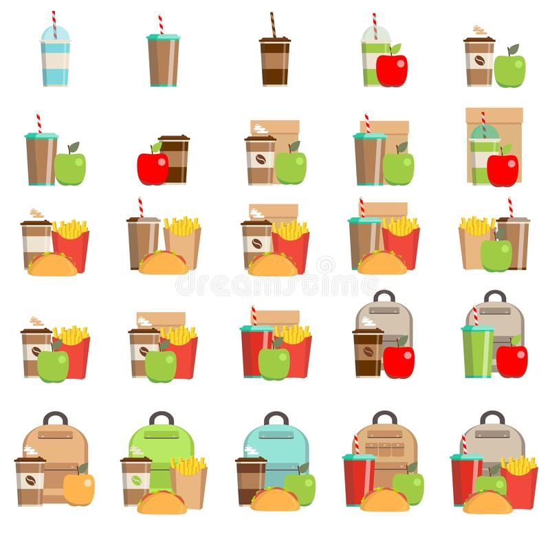 Lunchbox with cheese sandwich, tomato slices, potato chips, paper bag, schoolbag for school or work set. vector illustration