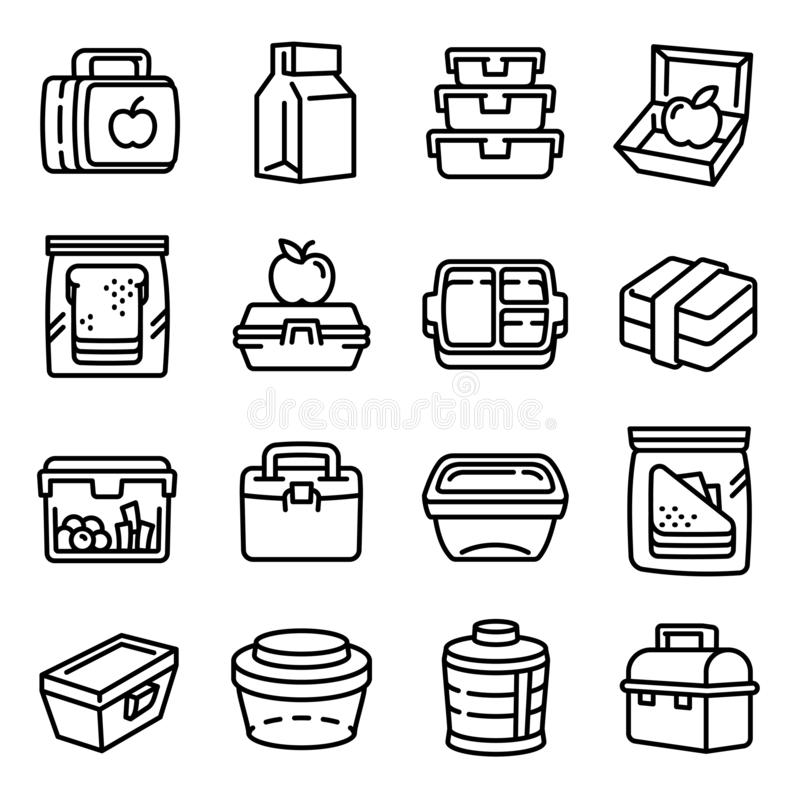 Lunchbox icons set, outline style royalty free illustration
