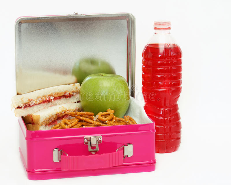 Lunchbox lunch - roze royalty-vrije stock afbeeldingen