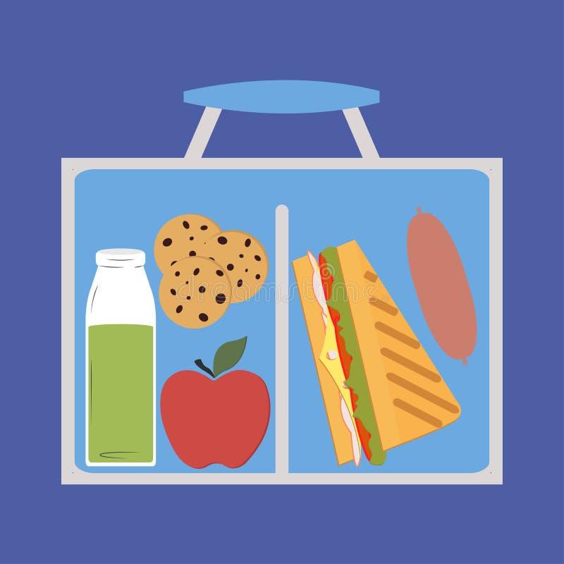 Lunchbox mit dem Mittagessen lizenzfreie abbildung