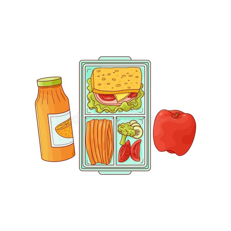 Lunchbox mit Schulmahlzeit - Sandwich mit Gemüse im Plastikbehälter und Apfel mit Orangensaft stock abbildung