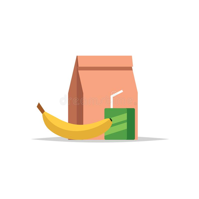 Lunchbox - papierowa torba z posiłkiem, sokiem i bananem, Posiłek szkolny, dziecko lunch Wektorowa ilustracja w mieszkanie stylu ilustracja wektor