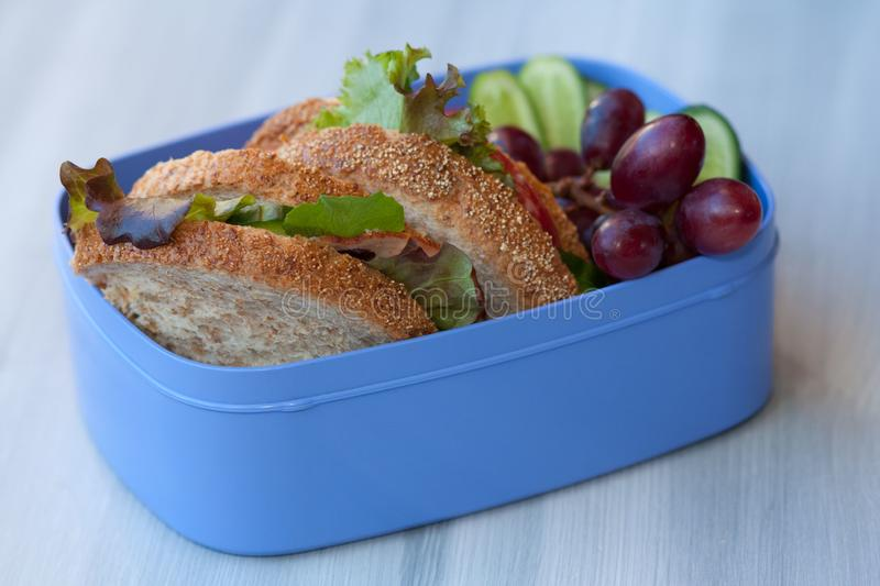 Lunchbox with sandwich, vegetables and fruits. stock photography