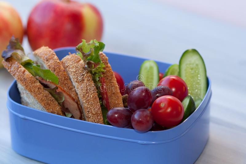 Lunchbox with sandwich, vegetables and fruits. stock photo