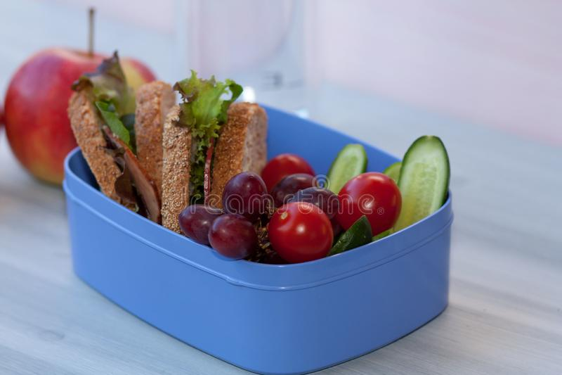 Lunchbox with sandwich, vegetables and fruits. stock photos