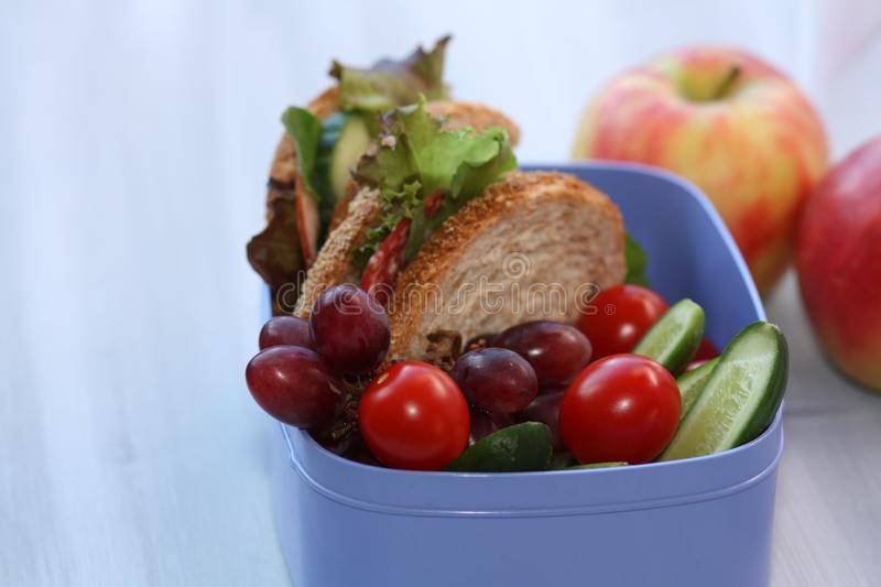 Lunchbox with sandwich, vegetables and fruits. royalty free stock images