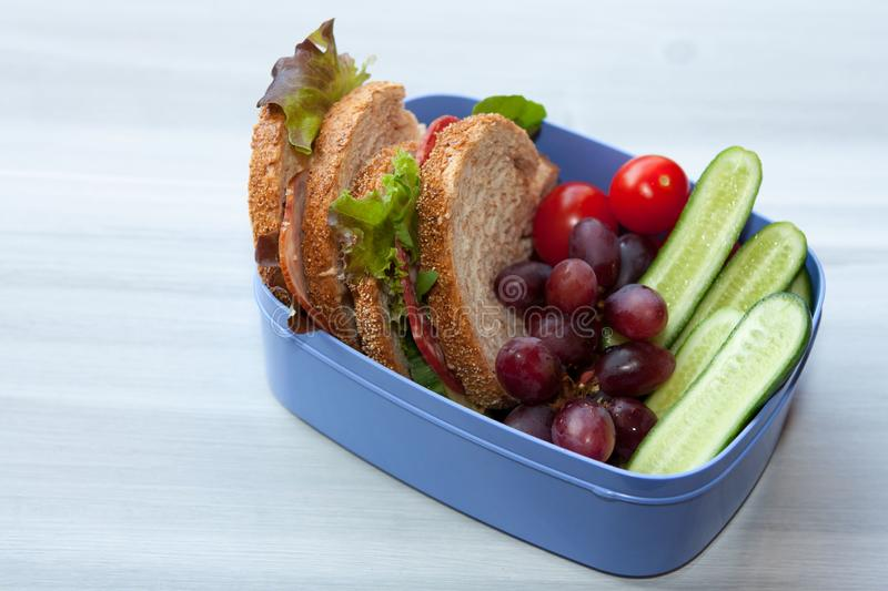 Lunchbox with sandwich and vegetables. stock photography