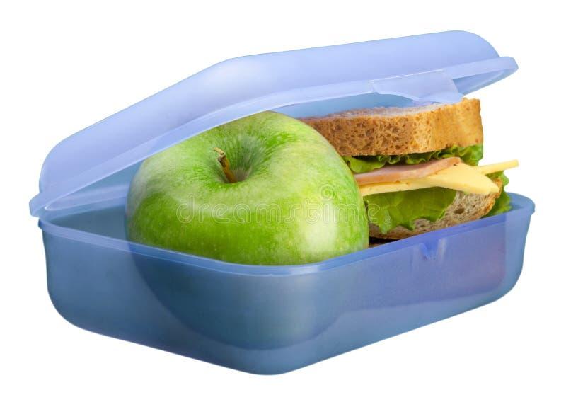 Lunchbox z jabłkiem odizolowywającym na bielu zdjęcie royalty free