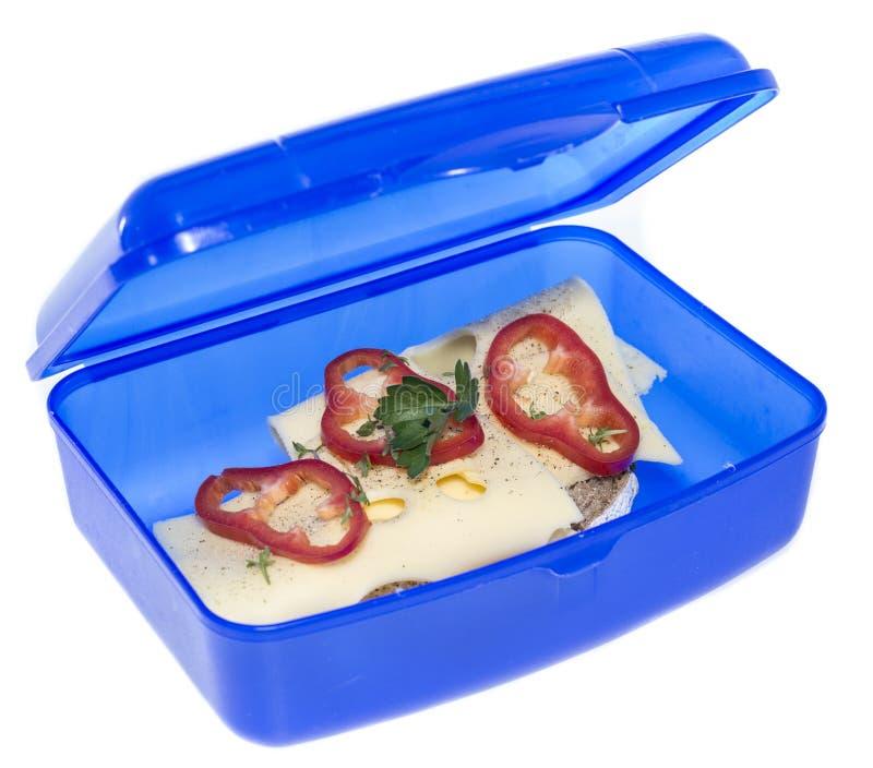 Lunchbox z Serową kanapką obraz royalty free