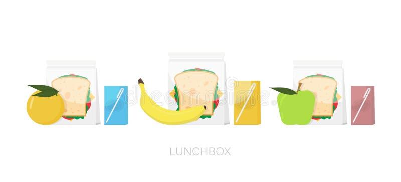 Lunchboxsatz Kasten mit Lebensmittel Brotdose mit Apfel und Orange, Banane Auch im corel abgehobenen Betrag stock abbildung