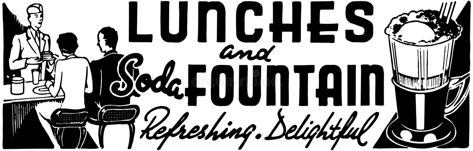 Lunches And Soda Fountain royalty free illustration