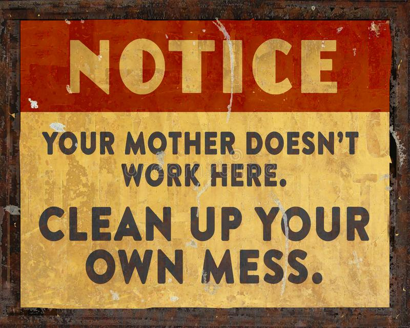 Lunchroom Clean Your Mess Sign stock photo