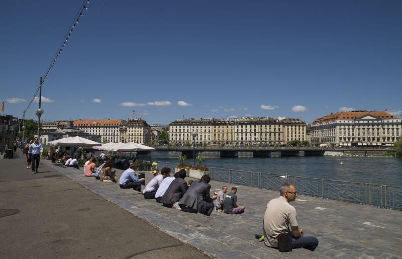 Lunchtid, Genève arkivbilder