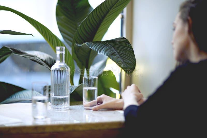 Lunchtid i stadsrestaurang eller kafé Rent vatten i en flaska, i exponeringsglas Houseplants near fönstret, dagsljus arkivbilder