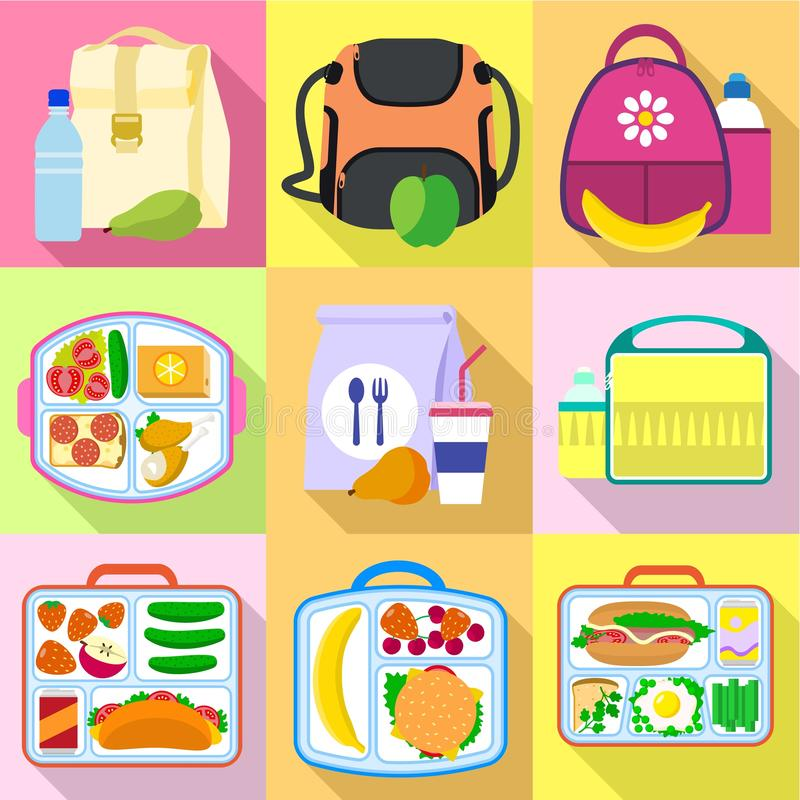 Lunchtime bag icon set, flat style stock illustration
