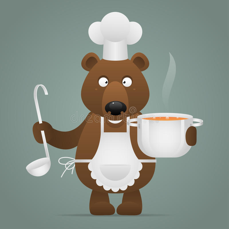 Lunchtime bear holds pan and ladle royalty free illustration