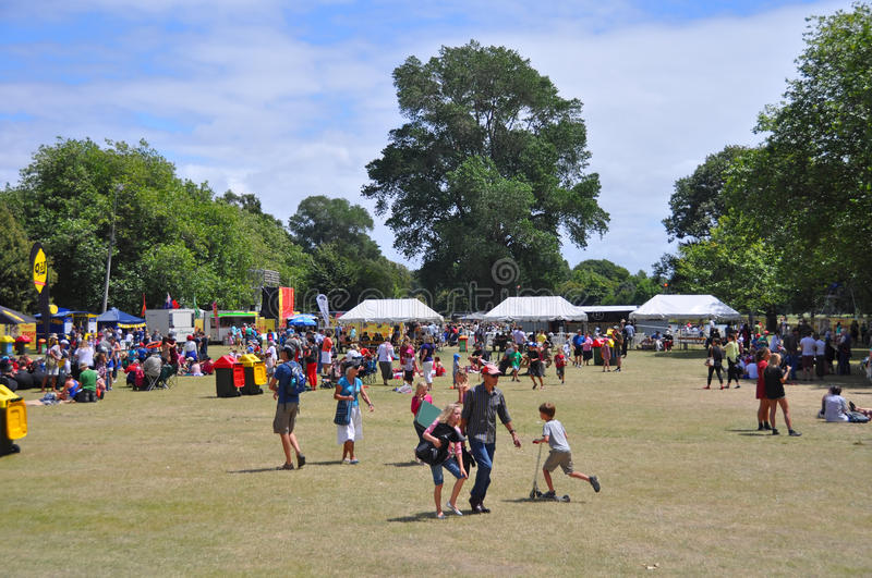 Lunchtime Crowd in Hagley Park at The World Buskers Festival, Ne