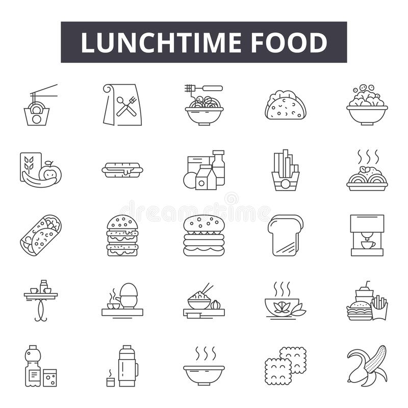 Lunchtime food line icons, signs, vector set, outline illustration concept vector illustration