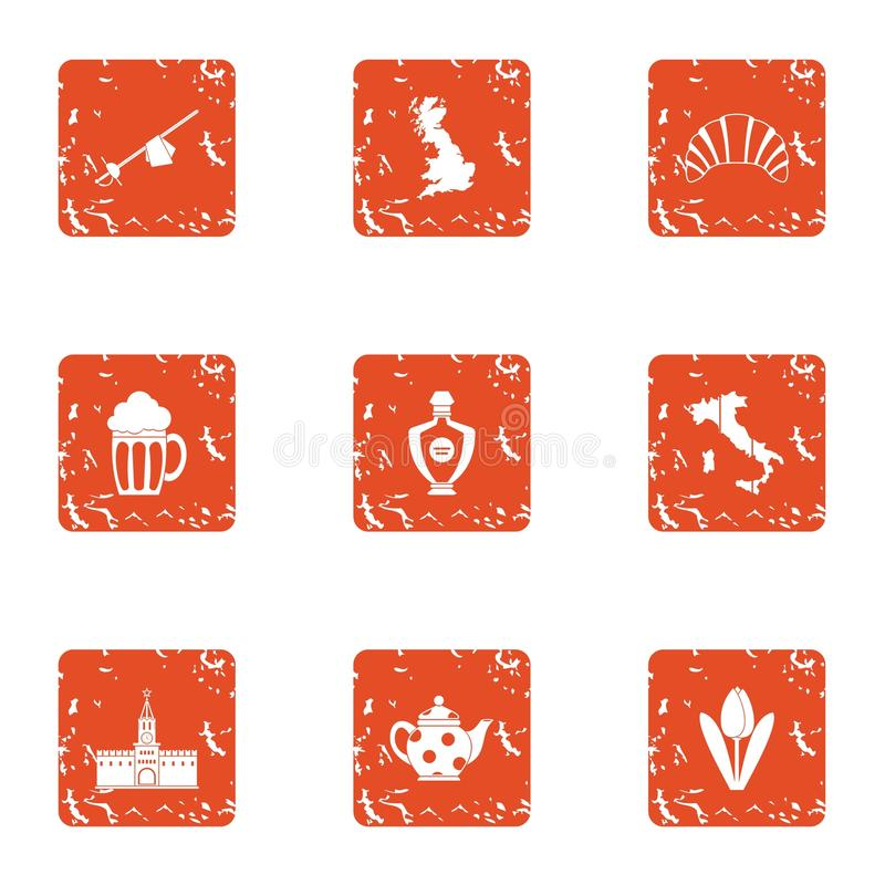 Lunchtime icons set, grunge style royalty free illustration