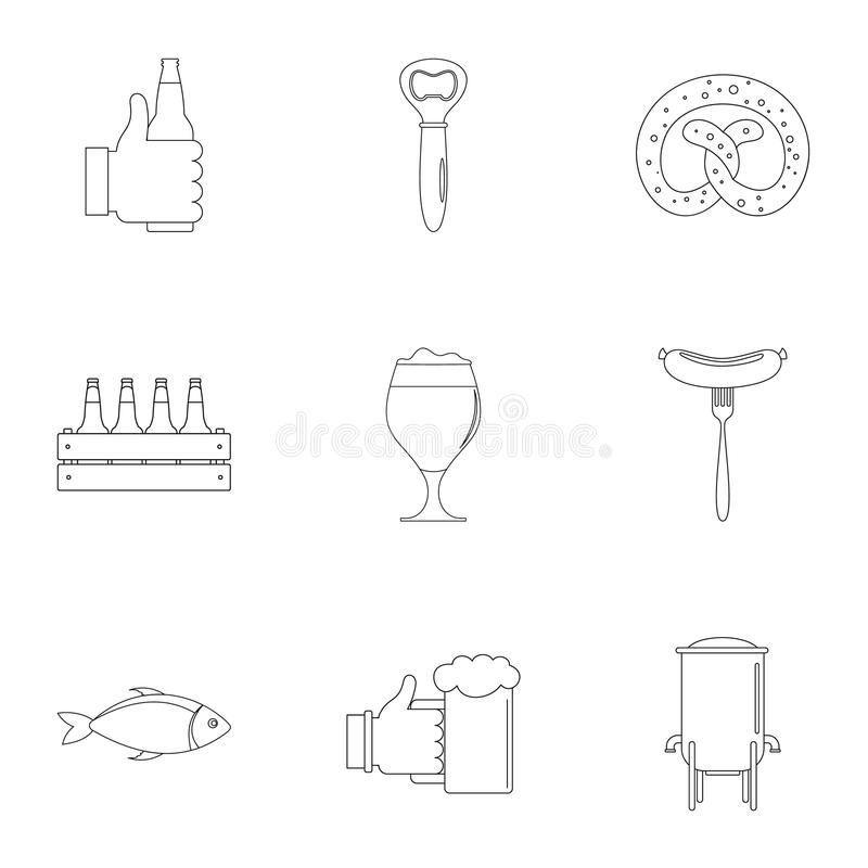 Lunchtime icons set, outline style vector illustration