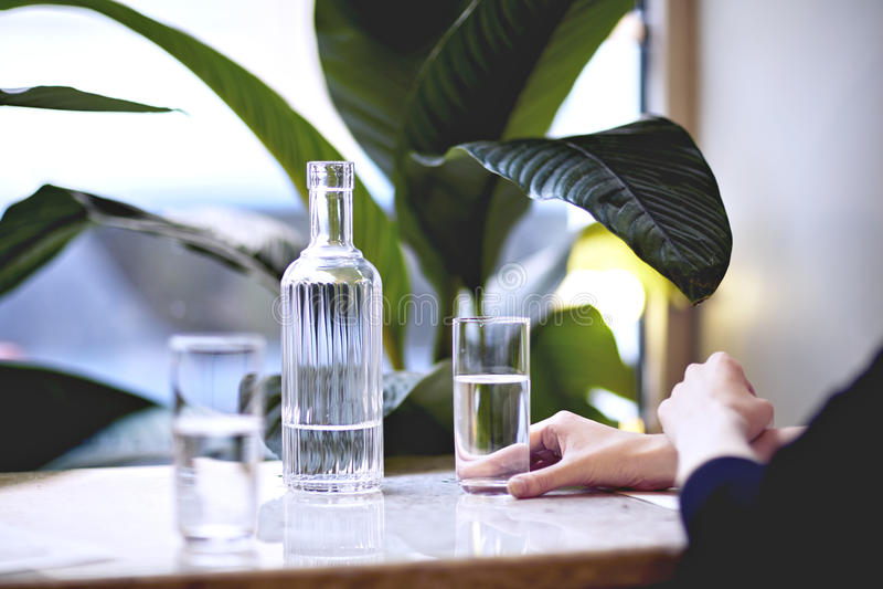 Lunchu czas w miasto kawiarni lub restauraci Czysta woda w butelce w szkle, Houseplants zbliżają okno, światło dzienne obraz royalty free