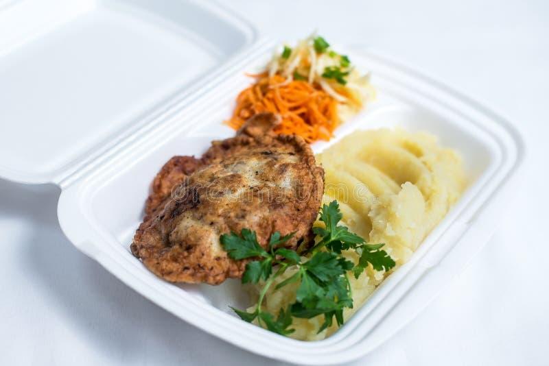 Lunchu pudełka set Rozporządzalny plastikowy lunchu pudełko Biały jedzenia pudełko, lunch, fast food, odizolowywający na białym t obraz stock