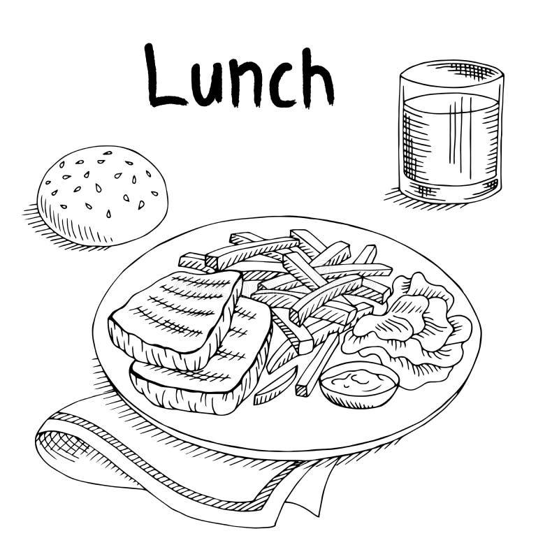 Lunchu stku karmowy mięsny francuz smaży sałatkowego graficznej sztuki czerni nakreślenia białą ilustrację ilustracja wektor