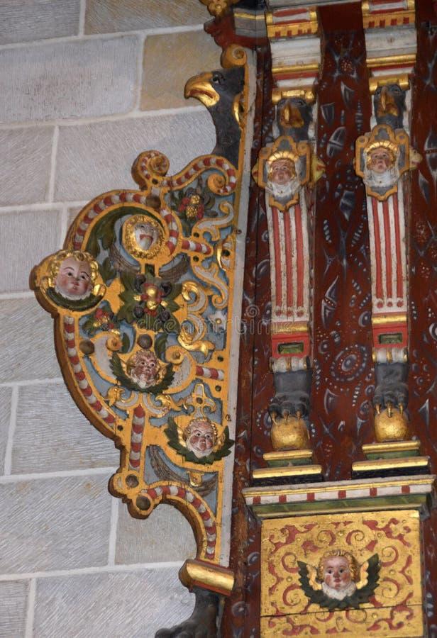 Lund, Szwecja 7 2018 Listopad Wnętrze w Lund katedrze obrazy royalty free