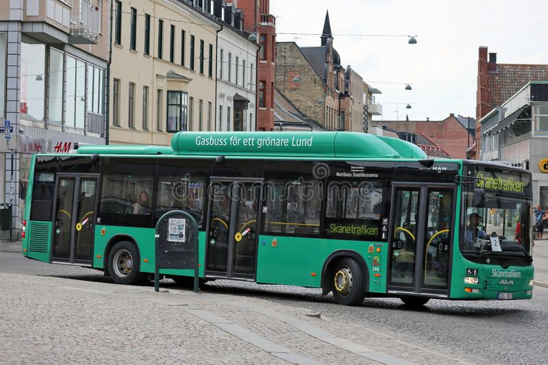 Lund, Szwecja - miasto autobus fotografia royalty free