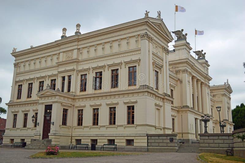 Lund universitet Sverige - yttersida - huvudbyggnad royaltyfri bild