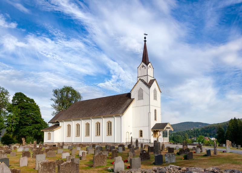 Lunde Church Nome Telemark Norway Scandinavia. White wooden Lunde Church Lunde kyrkje in Nome, Telemark County, Norway, Scandinavia stock image