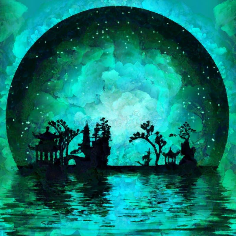 Lune asiatique illustration libre de droits